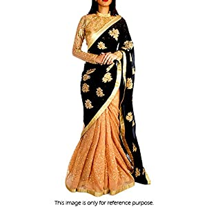 Bollywood Replica Model Georgette and Net Saree In Black and Peach Colour NC684