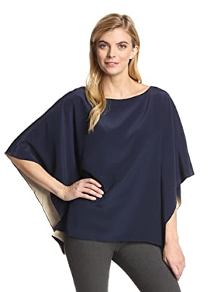 Jay Godfrey Women's Capps Top with Contrast Lining (Navy/Taupe)