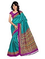 Cenizas Printed Art Silk Sari Green and Pink (3340 Green)