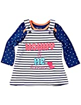 Infant Girls Printed Tee With Vellore Dungaree Skirt Set, Multi Colour (Newborn)
