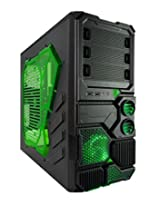 Apevia X-SNIPER2-GN ATX Mid Tower PC Gaming Case with Green Tinted Side Window, Front USB3.0/Audio - Black/Green