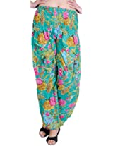 Exotic India Marine-Green Casual Trousers With Printed Flowers - Green
