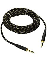 Monoprice 601420 20-Feet Cloth Series 1/4-Inch TS Male 20AWG Instrument Cable, Black and Gold