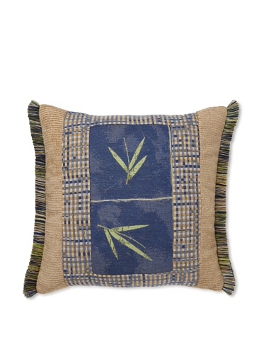 Elsa Blue Tonga Blue with Fringe Indoor/Outdoor Pillow, 18