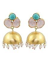 Gehnamart Yellow Gold Plated Turquoise Jhumki Earring