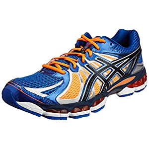 Asics Men's Nimbus 15 White and Blue and Orange Mesh Running Shoes  - 10 UK