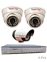 TouchTec 4 Channel D1 DVR + Dome IR + Bullet Camera , 800 TVL 3.6 MM Lens with stand-4 Pcs