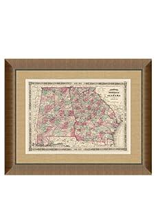 "Johnson and Ward Antique Map of Georgia & Alabama, 1860's, 28"" x 34"""