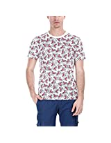 Zobello Men's Holiday Inspired Printed Crew Tee (21062K_Off White Blush Shark Print_X-Large)