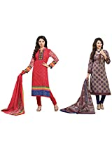 Rajnandini Combo of cotton Printed Unstitched salwar suit Dress Material (Brown & blue _Free Size)