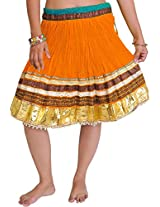Exotic India Mini-Skirt Ghagra from Jaipur with Gota Border - Color Bright MarigoldGarment Size Free Size