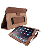 Snugg iPad Air 2 Case - Smart Cover with Flip Stand & Lifetime Guarantee (Distressed Brown Leather) for Apple iPad Air 2 (2014)