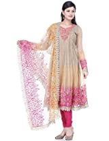 Taffy brown net readymade suit dupatta