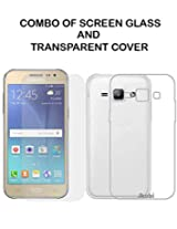 Value Combo Of HD Quality Tempered Glass and Soft Transparent Clear Back Case Cover For Samsung Galaxy J2