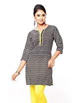 Purab Paschim Women's Cotton Printed Black & Yellow Kurti (20775) Medium (OLT20775BYM)
