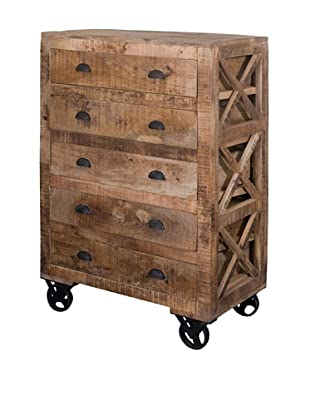 Coast To Coast 5-Drawer Accent Chest on Wheels, Light Brown