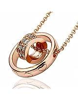 Aaishwarya 18K Rosegold plated Chic Double Ring Pendant