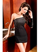 Cut Out Sleeve One Shoulder Black Bejeweled Clubbing Dress