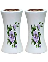 Unique Art Emporium Wooden Flower Vase (8 cm x 8 cm x 15 cm, White, Set of 2, UAFP033)