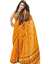 Exotic India Chiffon Saree from Mysore with Hand-woven Leaves in Golden Thread - Color SunflowersColor Free Size