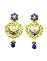 Orne Jewels Ethnic Designer Gold Earrings with Blue Gemstones
