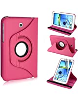 AE 360Rotating PU Leather Stand Case For Samsung Galaxy Tab3 7.0 P3200 Hot Pink