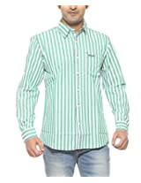 Wrangler Men Cotton GREEN Casual Shirt (Large)