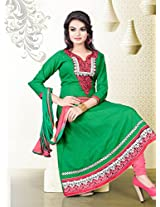 Cotton Embroidered Green Unstitched Anarkali Suit - PHO2703