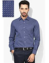 Blue Printed Slim Fit Formal Shirt Peter England