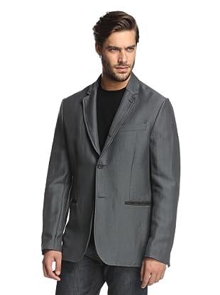 John Varvatos Collection Men's Convertible Notch Lapel Jacket (Metal Grey)