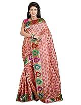 Vibes Women's Bhagalpuri Art Silk Saree,With Blouse (S54-VBK153_Pink)
