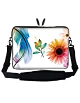 "Meffort Inc 15 15.6 Inch Flower Leaves Design Laptop Sleeve Bag Carrying Case With Hidden Handle & Adjustable Shoulder Strap For 14"" 15"" 15.6"" Apple Macbook, Acer, Asus, Dell, Hp, Sony, Toshiba, And More"