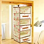Pindia Fancy Foldable 6 Layer 3 Drawer Hanging Storage Wardrobe Almirah - Cream