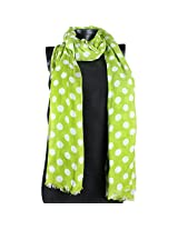 Vozaf Women's Viscose Stoles & Scarves - Green And White With Polka Dots