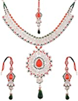 Lucky Jewellery Fabulous Red Green Alloy Chain Set With Mang Tikka for Women (825-ISP-801-RED-G)
