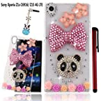 Ancerson Golden Pink Yellow Purple Black Panda Bow Rose Camellia Eye-catching New Stylish Luxury 3D DIY Glitter Crystal Diamond Rhinestones Slim Protective Back Case Cover for HTC Desire 816/ Sony Xperia Z1 L39h/ Sony Xperia Z1S T-Mobile C6916/ Sony Xperi Sony Xperia Z1S C6916
