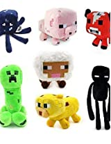 Andp Baby Squid Creeper Enderman Mooshroom Pig Sheep Plush Toys(7pcs/Lot)