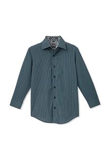 Ike Behar Boy's 8-20 Long Sleeve Striped Shirt (Teal)