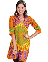 Exotic India Womens Cotton Kurta (Sto74-Xs-Tangerine-Orange _Tangerine Orange _X-Small)