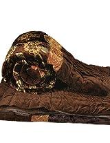 Little India Rajasthani Floral Pattern Velvet Cotton Single Bed Quilt - Brown  (DLI3SRZ501)
