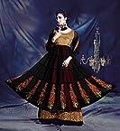 Sixmeter Designer Faux Georgette Black Semi-Stiched Long Anarkali Salwar Kameez Suit