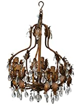 Laxmi Interiors Veronica 5 Light Crystal Chandelier (25 W, Beige, LXC1172)