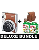 Fujifilm Instax Mini 90 NEO - Brown + 40 Shots + Vintage Brown Case