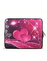 """Pink Two Heart 6"""" 7"""" 7.85"""" Inch Tablet Case Sleeve Carrying Bag Cover for Apple iPad Mini New/Samsung Galaxy Tab P3100 P6200/Acer Iconia A100/Google Nexus 7/noble Nook Color"""