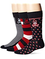 Psycho Bunny Men's 3 Pack Dots and Stripes Crew Socks