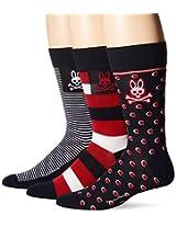 Psycho Bunny Men's 3 Pack Dots and Stripes Crew Socks