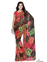 Georgette Printed Saree In Multicolour