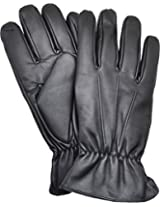 Isotoner Mens Genuine Leathers Smartouch Screen Thinsulate Gloves (Black Large)