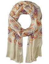 Saro Lifestyle Women's Paisley Design Polyester Scarf, Taupe, One Size