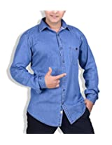 SPEAK Blue Polplin Denim Cotton Trendy Casual Shirt